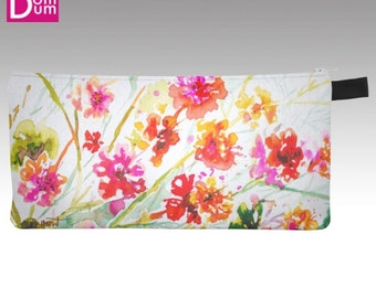 Pencil or makeup, bright geranium pattern case