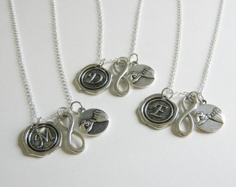 3 Pinky Promise Pinky Swear Infinity Wax Seal Initial  Best Friend Sisters Necklaces BFF