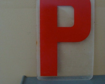 Vintage Industrial Salvaged Acrylic Letter P Tile Block