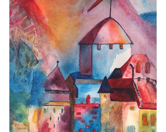 CASTLE TOWER2 ABSTRACT Colorful Watercolor Giclee Print Unframed Double Mat Matted Limited Edition Numbered