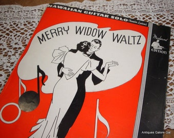Vintage 1930's Sheet Music, Merry Widow Waltz, Hawaiian Guitar Solo, Song  (625-13)