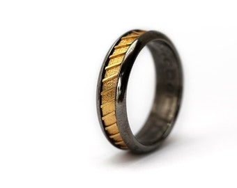 Gold plated silver ring, black wedding band for man and woman, wedding band set, textured Personalized silver band ring Commitment Rings