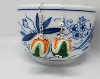 Boho Green and Orange Earrings, Fiber Beaded Earrings, Fun Summer Earrings, Boho style
