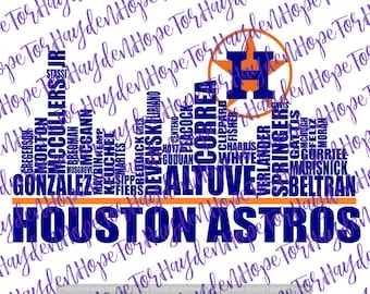 Astros Baseball SVG | Houston Skyline Astros Players SVG | Astros Players Skyline | Cricut | Silhouette Designer Edition | Cut File