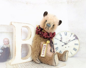 "Reserved, reserved for Martina – Ooak teddy bear, artist Teddy Bear ""Michael"", 26 cm with Vintagedeko and certificate, vintage, shabby"