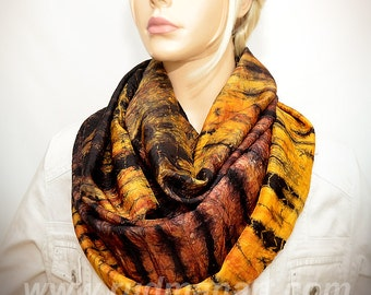 Infinity silk scarf Hand dyed wrinkled Habotai Silk Scarf Amber Black Tiger