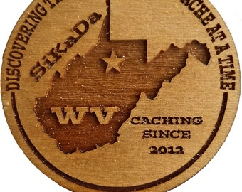 24 Personalized Geocaching Wood Tokens With State and Geocache Name