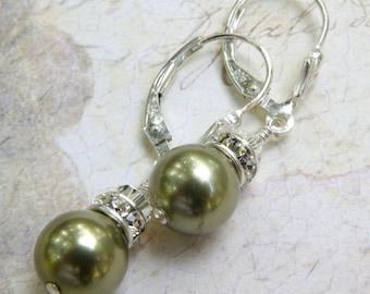 Green Pearl Earrings, Olive Earrings, Olive Green Bridesmaid Earrings, Classic Drop Earrings, Bridal Party Gift, Olive Wedding Jewelry