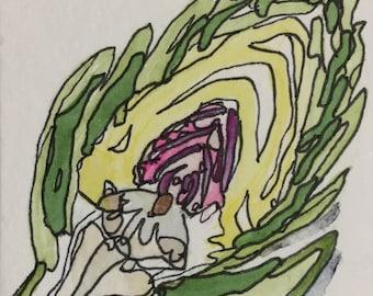 Artichoke Original Watercolor ACEO by Nan Henke, sometimes known as an ATC (Artist's Trading Card) 170101