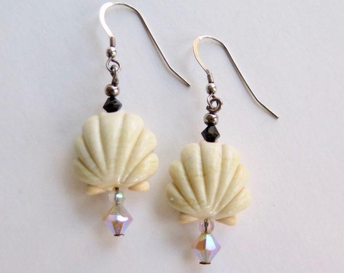Beach Jewelry - Seashell Earrings - Artisan Beads - Handmade - Swarovski Crystals - Sterling Silver - Dangle Earrings - Free Shipping -