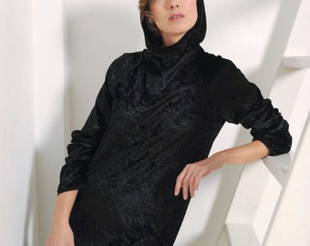 Women's black dress, crushed velvet dress, hooded dress, women's tunic, black tunic, velvet dress, women's long sleeve, black long sleeve
