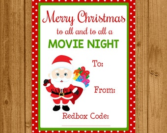 Redbox Movie Printable,  Christmas Movie Redbox Ticket Gift Tag, Merry Christmas to all and to all a Movie Night, Instant Download
