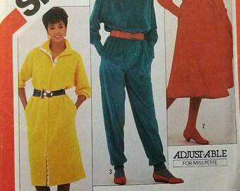 Vintage 80's Uncut Simplicity Misses sz 10 & 12 Jumpsuit and Dresses Pattern 6023
