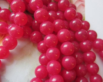 30 Raspberry red pink glass beads jewelry craft supplies 8mm