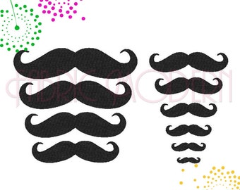 Machine Embroidery Design  mustache collection  10 sizes  #150