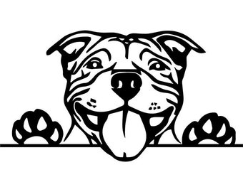 American Pit Bull #7 Puppy Peeking Paws Pet Terrier Dog Breed K-9 Canine Guard Security Logo.SVG .EPS .PNG Clipart Vector Cricut Cut Cutting