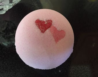 Valentine's Day Cherry Pink Bath Bombs with Heart Sprinkles