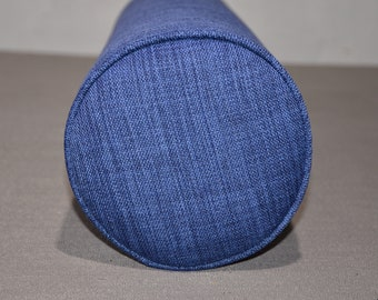 "Round Bolster Pillow Cover and Insert  8"" Round X 30"" long. Linen-Navy."