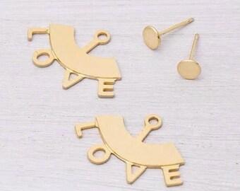 Love Earrings, Love Ear Jackets, Gold Jacket Earrings, Front Back Earrings, Double Back Earrings, Two-Sided Earrings, Unique Gift Idea