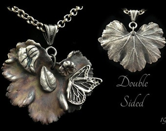 Geranium Leaf Pendant Silver, Real Leaf Pendant Necklace in Silver, Gardener Mom Gift Jewelry, Butterfly Gift for Women, Fine Silver Pendant