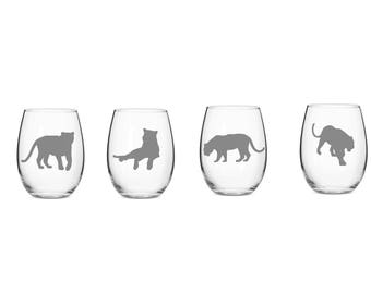 Set of 2 or 4 Tiger Wine Glasses,Tigers, Etched Tiger Glasses,Tiger Lovers,Tiger Barware,Tiger Gift Idea,Etched Tiger Wine Glasses,Tiger Art