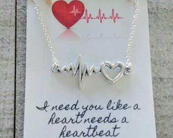 Heartbeat Necklace - Valentine's day Jewelry - Couples Gift - Love - Heart beat jewelry - silver