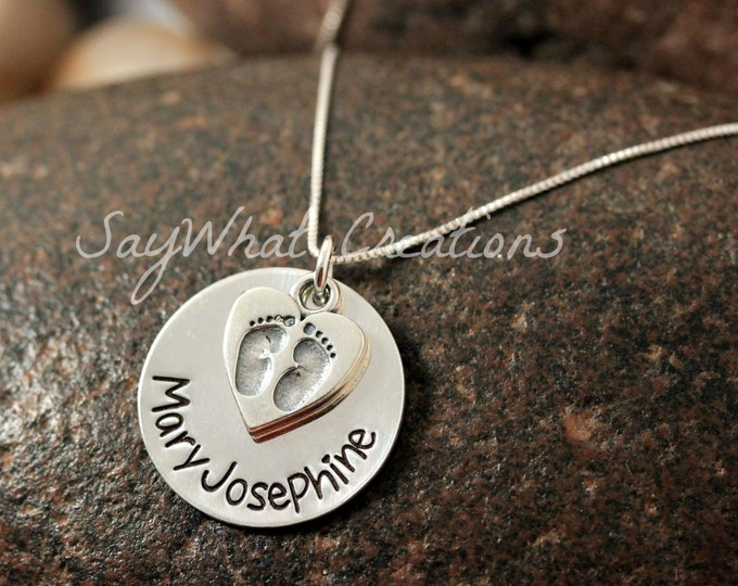 Custom Hand Stamped Mothers Necklace Sterling Silver with Name and Baby Feet Heart Charm