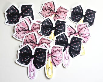 Pink and Black bow paper clip Die cuts