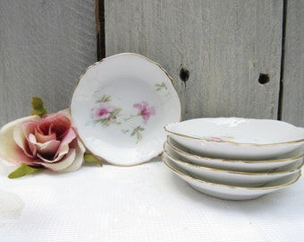 pink flower butter pats, antique floral plates, cottage chic gold scalloped mini plates, amuse bouche plates, set of 5 butter pat plates