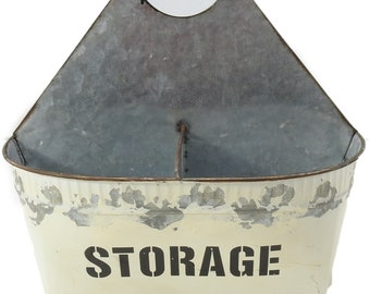 R & W Vintage Reproduction Distressed Metal Storage Bin, White/Silver
