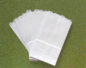 50 White Paper Bags with Lace Edge for Wedding Favors or Party Gifts Shower Party Candy Buffet Bag