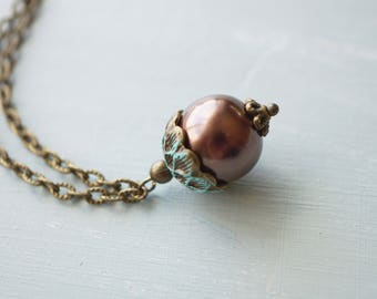Necklace, brown and turquoise pearl acorn necklace
