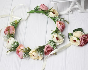 Bridal flower crown blush floral crown Bride headband bridesmaids Pastel flower crown blush pink flower corsage