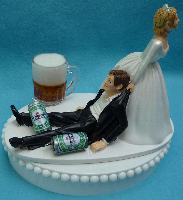 Wedding Cake Topper Heineken Beer Mug Cans Drinking Drinker