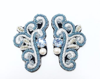 Icy Blue Wing Embroidered Stud Earrings