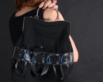 Dieselpunk handbag, cyberpunk handbag, biomechanical handbag, alien giger handbag, wires handbag, black handbag, punk handbag MASQ