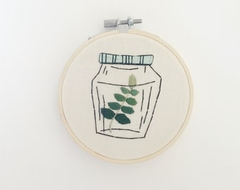 Plant Illustration, Handmade Embroidery, Wall Decor, Embroidery Hoop Art, Gift Under 30,  Hand Stitched Art, Handmade Decor, Small Gift