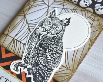Mixed Media Halloween Keepsake Gift Tag Featuring Great Horned Owl