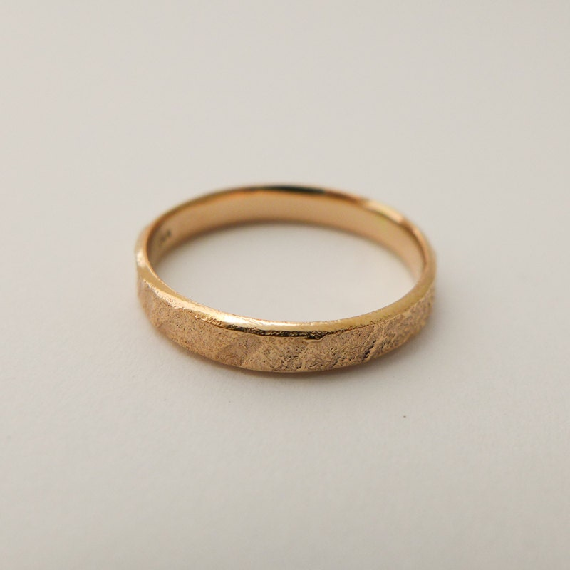 Rose gold wedding band Rustic yellow gold ring Thin band