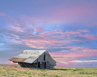 Farmhouse, old barn, prints