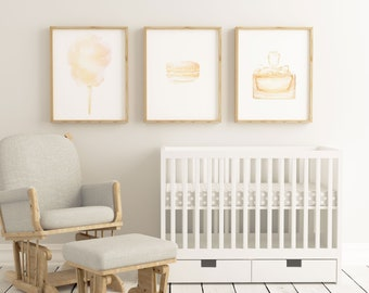 Sweet prints - Fashion prints - Girl prints - Gold prints - Set of 3 - Nursery prints - Playroom printable - Fashion playroom - pdf