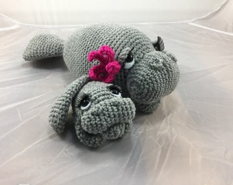 Mama and Baby Manatee crochet tutorial - teddy bear of the sea - dugong - amigurumi pattern - sea creature - seacow - instant download pdf