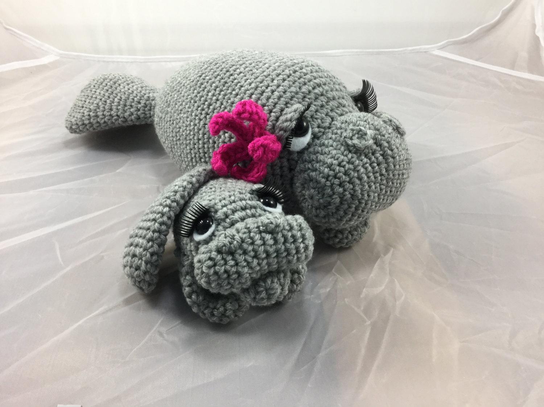 Mama and Baby Manatee crochet tutorial teddy bear of the sea