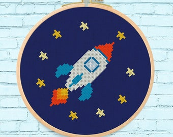 Cute Space Rocket with Stars Cross Stitch Pattern. Modern Simple Cute Counted Cross Stitch PDF Pattern. Instant Download
