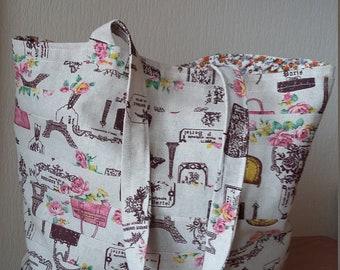 Cotton Shopping bag, Fabric Shopper, Fabric Shoulder bag, Women's beach bag, fabric tote bag, holiday bag, reusable bag, cotton bag