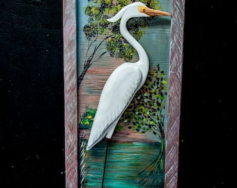 Egret, Great egret, Egret on the frame, Egret painting.