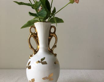 Vintage gold and cream bud vase- flower vase-5.5 x 3inches-small vase-art decor-cottage chic-Hollywood glam-gift-housewarming-home decor