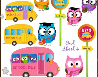 Owl Skool 4.  Clip art for personal and commercial use.  (P107)