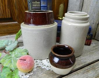 Set of 3 Vintage Stoneware Crocks - Screw Top - Storage Crock