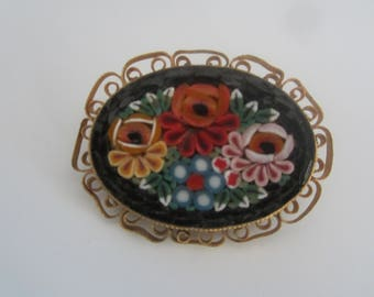 Very Old Micro Mosaic Brooch- FREE SHIPPING (US)